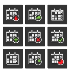 Calendar Icons Events Progress Delivery vector image