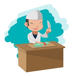 Chef cooking cartoon character japan vector