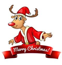 Christmas logo with deer vector image
