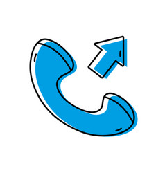 Color phone call received sign telephone icon vector