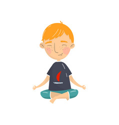 Cute boy sitting in lotus position and meditating vector
