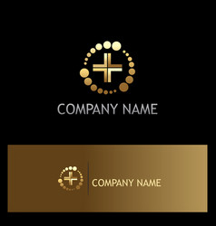 dot abstract cross medic gold logo vector image