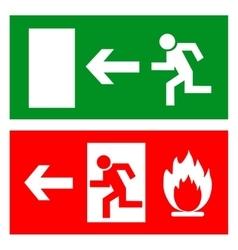 Emergency fire exit door and exit door sign with vector