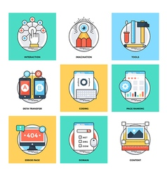 Flat color line design concepts icons 11 vector