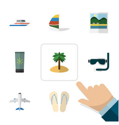 Flat icon summer set of boat moisturizer vector