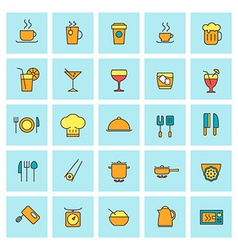 Food and beverages icon set in flat design style vector image