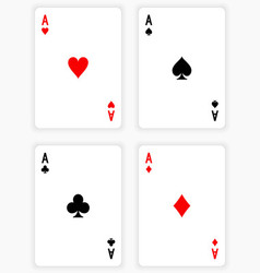 Four aces playing cards on white background vector