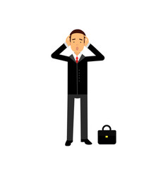 Frustrated businessman character holding his head vector