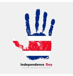 Handprint with the Flag of Costa Rica in grunge vector image