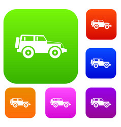 jeep set collection vector image