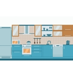 Kitchen interior flat design vector