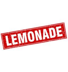 Lemonade red square grunge stamp on white vector
