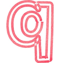 lowercase letter q drawing with Red Marker vector image vector image