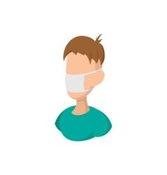 Man wearing medical mask cartoon icon vector image