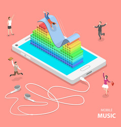 Mobile music flat isometric concept vector