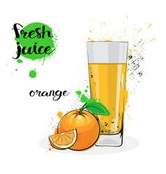 Orange juice fresh hand drawn watercolor fruits vector