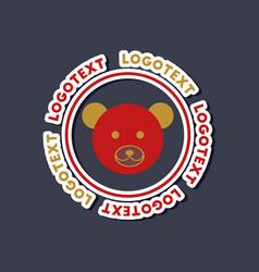 Paper sticker on stylish background bear logo vector