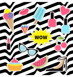 Quirky sticker patch badge set Fashion pin vector image vector image