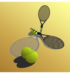 racket on a yellow backgroun vector image vector image