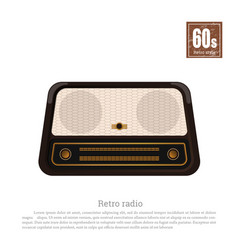 retro radio in realistic style on white background vector image