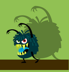 scary blue monster with shadow vector image
