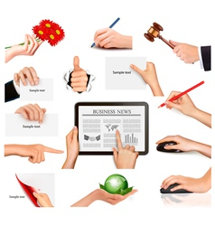 Set of hands holding vector image