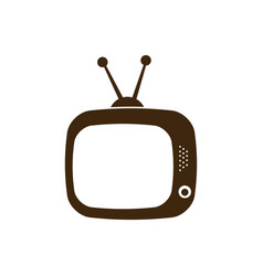 Silhouette antique tv icon flat vector