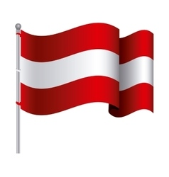 Silhouette color with waving flag of austria and vector