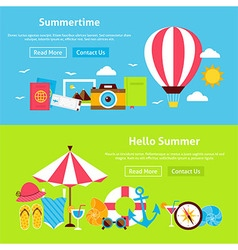 Summer Time Flat Website Banners Set vector image vector image