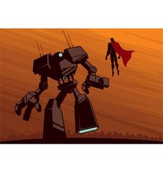 Superhero versus Robot 2 vector image vector image