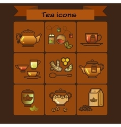 Tea color icons set on brown background vector