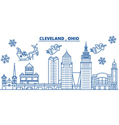usa ohio cleveland winter city skyline merry vector image