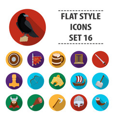 Vikings set icons in flat style big collection of vector