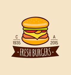 Vintage fast food logo burge sign bistro vector