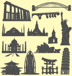 World landmarks silhouettes vector