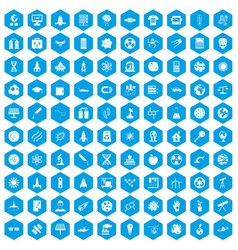 100 space technology icons set blue vector