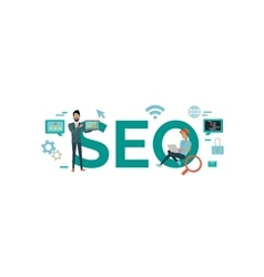 SEO Technology Concept in Flat Style Design vector image