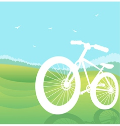 bicycle silhouette summer landscape vector image