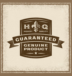 vintage guaranteed genuine product label vector image