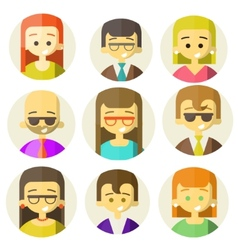 Colorful people faces circle icons set vector