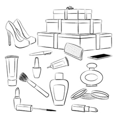 Fashion accessories and makeup set vector