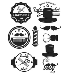 Set logos labels badges abarber shop vector