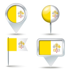 Map pins with flag of holy see vatican city vector