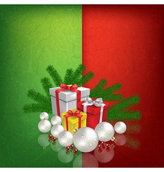 Celebration greeting with christmas gifts and vector