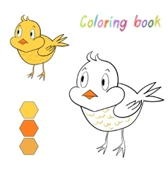 Coloring book chicken kids layout for game vector