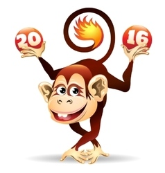 Cheerful fire monkey vector