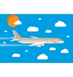 Picture of a civilian plane with clouds and sun vector
