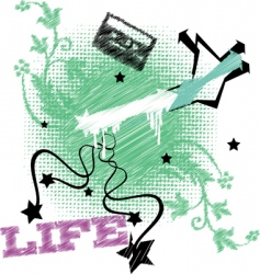 Life embroidery vector