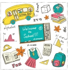 Set of school drawings on chalkboard sketches vector