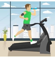 Man at gym doing exercise on the treadmill vector